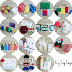 girl meets life.: Busy bag swap! Another great list of activities. I especially like the car mat and jar lid drop.