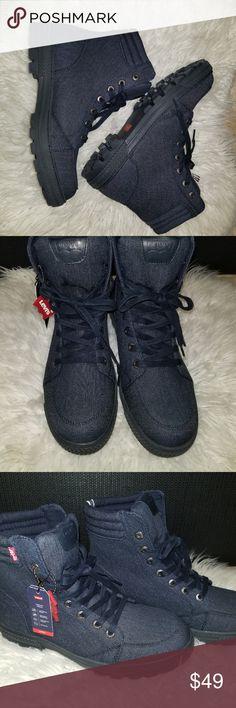 Levis Men's Clarkson Denim Blue Boots Levis Men's Clarkson Denim Blue Canvas Hiking Military Style Boots Size 11 Levi's Shoes Combat & Moto Boots