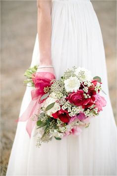 Pink & Red Bouquet|Photographer: Ashley Tingley