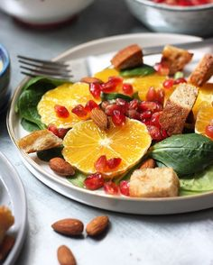 This delicious immune boosting salad with oranges, pomegranate seeds and lemon ginger dressing will be on the blog soon!Stay tuned for the recipe and have a great week! ✌️️ #salad  #lunch #healthyfood #lovefood #vegan #veganfood #foodie #foodphotography #foodblogger #foodporn #foodblogfeed @foodblogfeed #feedfeed @thefeedfeed #thekitchn @thekitchn #huffposttaste @huffposttaste #buzzfeedfood @buzzfeedfood #yahoofood #beautifulcuisines #fitfood #ichliebefoodblogs #zurich #suisse #dnesjem #d...