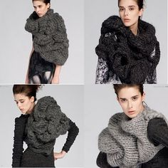 creationsbyeve-eng: Extreme chunky knitwear by Johan Ku Knitwear Fashion, Knit Fashion, Knitting Wool, Hand Knitting, Knitting Designs, Knitting Projects, Chunky Knitwear, Knit Art, Asymmetrical Sweater