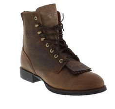 Ariat Women's Distressed Brown Heritage Lacer II These traditional leather lace-up boots offer fashion and function. A double kiltie not only provides style but also foot protection while the Ariat ATS footbed cushions and supports your feet for all-day comfort. Ultra-withstanding Duratread outsoles resist wear and slipping.