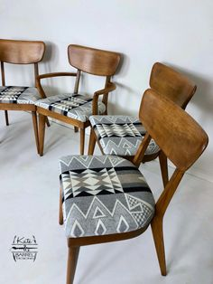 Vintage Set of Five Heywood Wakefield Dining Chairs with Pendleton Fabric :: Kateandbarreldesigns Furniture Makeover, Home Furniture, Furniture Design, Rustic Furniture, Modern Furniture, Antique Furniture, Furniture Dolly, Furniture Stores, Antique Desk