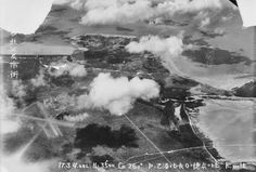 CAPTURED JAPANESE AERIAL PHOTOGRAPH OF THE CITY OF DARWIN TAKEN AT A HEIGHT OF 3500 FEET 1942