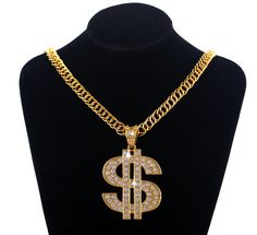 new gold crystal dollar pendant neckalce cool punk hiphop hip hop rappers chain necklaces men women jewelry gifts LCA268