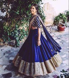Wearing a blue bridal lehenga for your big day? These blue bridal lehengas will up your glamour quotient. The unique lehenga is in huge demand nowadays. Take cues from these designer lehenga. Indian Lehenga, Lehenga Choli, Anarkali, Dress Indian Style, Indian Dresses, Indian Wedding Outfits, Indian Outfits, Bridal Outfits, Indian Weddings