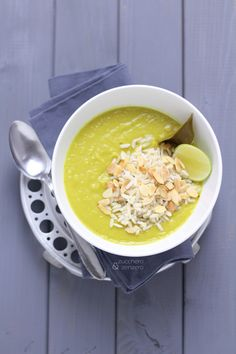 Sweet potato soup with coconut milk and turmeric. Click to read the recipe or pin it for later!