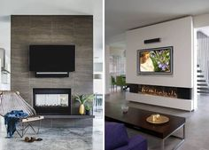 Перегородка между комнатами с телевизором и камином