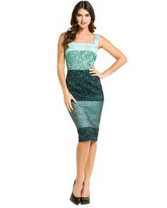 D Green Metallic Jacquard Dress