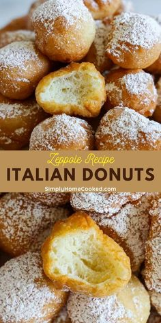 This Zeppole recipe makes the most delicious Italian donuts. Your family will love the airy sweetness of these deep-fried dough balls that can be served for dessert or even a snack. Keto Desserts, Sweet Desserts, Just Desserts, Delicious Desserts, Dessert Recipes, Donut Recipes, Gourmet Recipes, Bread Recipes, Cooking Recipes