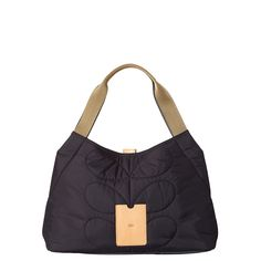 Orla Kiely: Stem quilted Nylon fabric shoulder bag with magnet closure. Webbing handles, leather trims and small leather logo card holder pocket on front of bag. Silver coloured hardware. Inside details include a sand coloured large linear stem jacquard lining with small zip pocket, key chain and mobile pockets.