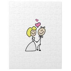 #Bride and Groom Cute Cartoon Simplicity Jigsaw Puzzle - #GroomGifts #Groom #Gifts Groom Gifts #Wedding #Groomideas