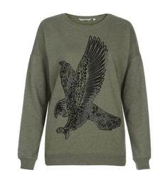 Khaki Leather-Look Eagle Print Sweater