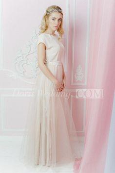US$128.75-Cap Sleeve A Line Jewel Tulle Wedding Dress With Sleeves. http://www.doriswedding.com/cap-sleeve-a-line-jewel-tulle-dress-with-low-v-back-pET_711459.html.  #beautiful #wedding #dresses #designers #affordable #wedding #dress #styles #backless #unique #DorisWedding.com