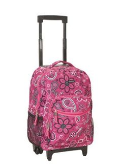 b8fcf891410 Rockland Luggage 17 Inch Rolling Backpack, Bandana, Medium  Rolling backpack  with skate wheels, single bar handle. Measures 13 inches long x 10 inches  wide ...