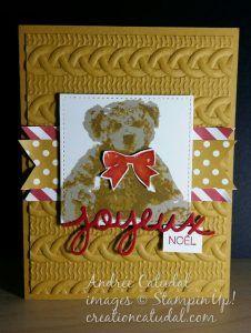 Bébé ourson StampinUp - carte de Noël