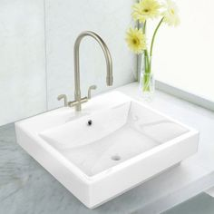 19-in. W x 17.5-in. D Above Counter Rectangle Vessel In White Color For Single Hole Faucet