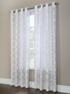 Instantly add style to any room with the Semi Sheer Room Brightening Geometric Curtain Panels. The burnout design adds privacy and lets light filter through. Home Living Room, Curtains Living Room, Living Room Decor Curtains, White Paneling, Geometric Curtains, Decor Home Living Room, Curtain Designs, Master Bedrooms Decor, Grey Dining Room