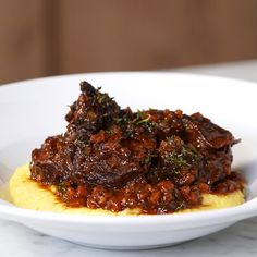 Ossobuco With Polenta - Cooking TV Recipes Pork Osso Bucco Recipe, Beef Shank Recipe, Polenta, Steak Recipes, Cooker Recipes, Game Recipes, Cooking Tv, Slow Cooked Beef, Food Network Recipes