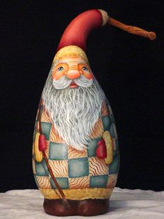 Patchwork Santa Hand Painted Gourd