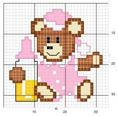 Little bear pink ♥vanuska♥ Cross Stitch Baby, Cross Stitch Charts, Cross Stitch Designs, Cross Stitch Patterns, Cross Stitching, Cross Stitch Embroidery, Hand Embroidery Patterns, Le Point, Pixel Art