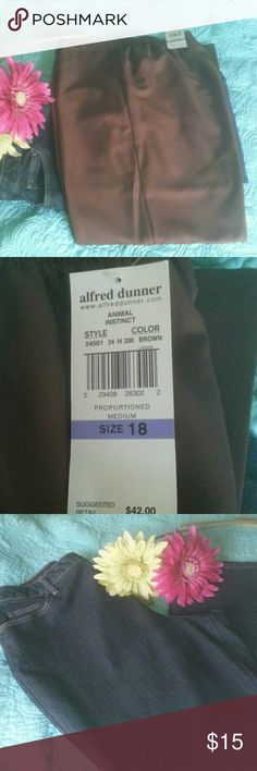 NWT AD pants & a pr of Black Denim  jeans NWT BROWN ALFRED DUNNER PANTS, SIDE POCKETS, ELASTIC WAIST IN THE BACK FLAT FRONT, THEY HAVE A SILKY FEEL TO THEM  NWOT FASHION BUG BLACK DENIM 5 POCKET JEANS, INSEAM 31.   Price is for both Alfred Dunner Pants Straight Leg