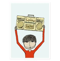 Say Anything Boy 5 x 7 Art Print  Pen and Ink by hellosmallworld