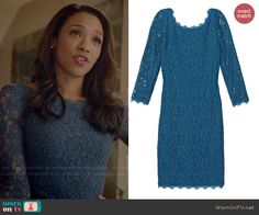 Iris's blue lace dress on The Flash.  Outfit Details: http://wornontv.net/47949/ #TheFlash