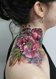 Lianne Moule's sensual watercolor tattoo - You are in the right place about snake tattoo Here we offer you the most beautiful pictures about - Up Tattoos, Future Tattoos, Flower Tattoos, Body Art Tattoos, Sleeve Tattoos, Tattoos For Women, Flower Neck Tattoo, Tatoos, Arabic Tattoos