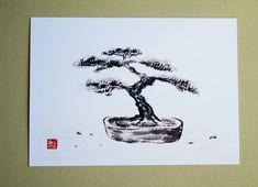 "Print: ""Bonsai tree"", Japanese ink drawing, sumi-e"