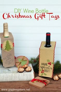Diy Christmas Wine Bottle Gift Tags Diy Christmas Wine Bottle Gift Tags Laura Starner DIY Christmas Ideas and Crafts Create these DIY Christmas Wine Bottle nbsp hellip gifts cricut Wine Bottle Tags, Wine Tags, Bottle Labels, Diy Valentine's Pillows, Diy Christmas Tags, Christmas Ideas, Christmas Projects, Christmas Wine Bottles, Wine Gifts