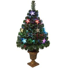 """Fiber Optics Evergreen 3"""" Green Fireworks Artificial Christmas Tree with Multicolor LED Lights with Urn Base"""