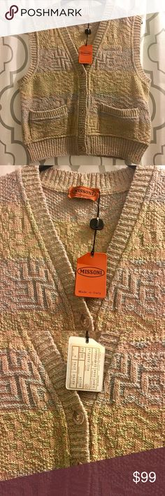 "Missoni Pastel Print Sweater Vest Missoni sweater vest. Geometric pastel print, v neck, button down front. Approx 20"" long, 19"" pit to pit. Small hole in back hem (pictured). No fabric tag. NWT.  🚫 trades. If I want something in your closet badly enough, I'll buy it 😍 Reasonable offers always welcome! Missoni Sweaters"