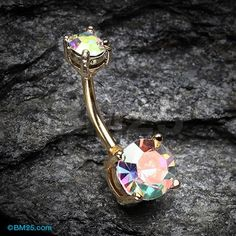Golden Aurora Sparkle Prong Set Belly Button Ring
