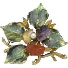 Realistic FRANCOIS Figural  Flower Brooch Pin Enamel Art Glass Faux Pearl