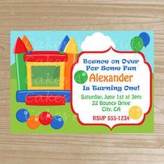 Bounce House Invitation - Bouncy Printable Invitation - Birthday Bounce Invitation for Boys - Digital File
