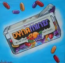 Ohhhhhhhhhhhhhhhhh!!!!!!!!!  DYNAMINTS!  I keep asking people why they don't make purple Tic Tacs anymore, and everyone tells me they don't remember purple Tic Tacs.  I insist that there used be fruity Tic Tacs and that the purple ones were my favorite.  Whoops.  Not Tic Tacs.  Dynamints!