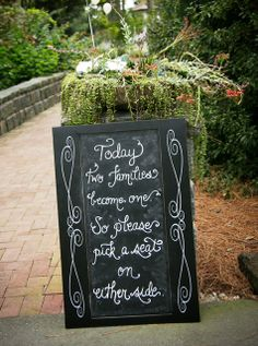 Chalkboard Ceremony Signage - Calligraphy by Carrie~local calligrapher