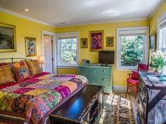 A Whimsical Oceanside Cottage With Colorful Interiors!!! Bebe'!!! Colorful Yellow Bedroom!!!