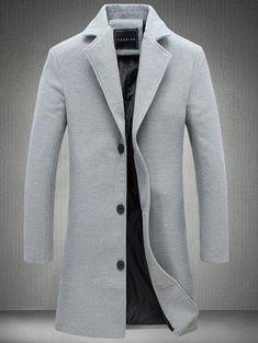 Longline Single Breasted Plus Size Woolen Coat - Gray - L