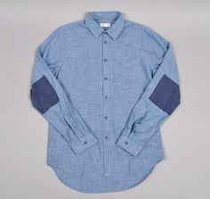 Printed Elbow Patch Shirt, Japanese Selvedge Chambray