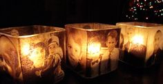 Interesting idea. Modge podge photos onto candle holders Amanda Cromwell