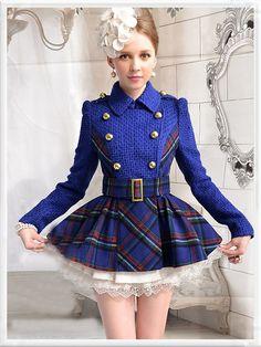 Morpheus Boutique  - Blue Plaid Knit Lovely Long Sleeve Belted Jacket