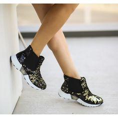 Pantofi Casual Dama Negru-Auriu Cod: 335p Ron, Biker, Boots, Casual, Sport, Fashion, Shearling Boots, Deporte, Moda