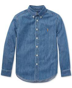 Polo Ralph Lauren Big Boys Cotton Chambray Sport Shirt - Dark Blue S Polo Ralph Lauren, Ralph Lauren Style, Chambray, Denim Button Up, Button Up Shirts, Indigo, T Shirt Sport, Blazer, Sports Shirts