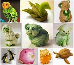 Creative work of art made from vegetables and fruits. Arte Do Sushi, Cute Food, Good Food, Veggie Art, Amazing Food Art, Creative Food Art, Creative Ideas, Creative Pictures, Food Carving