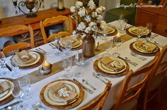 Tabletop Tuesday: Fall Table Setting Ideas Week 5 - An elegant design that blends rustic and metallic elements with family heirlooms. Fall Table Settings, Christmas Table Settings, Thanksgiving Tablescapes, Thanksgiving Decorations, Thanksgiving Dinners, Table Setting Inspiration, Centerpiece Decorations, Centrepieces, A Table