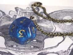 Retro Dice Necklace 12 Sided Die Real by PeculiarCollective