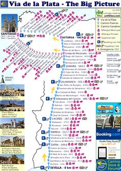 Everything to do with the Via de la Plata or the Silver Way Camino, that runs from Seville to Astorga, or to Santiago via the Sanabres Way. The distance is approximately but if you go via Asto The Camino, Trail Maps, Bryce Canyon, Famous Last Words, Andalucia, Summer Months, Pilgrimage, Big Picture, Places To See