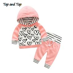 702875dc6145 Top and Top Fashion Cute Infant Newborn Baby Girl Clothes Hooded Sweatshirt  Striped Pants 2pcs Outfit Cotton Baby Tracksuit Set